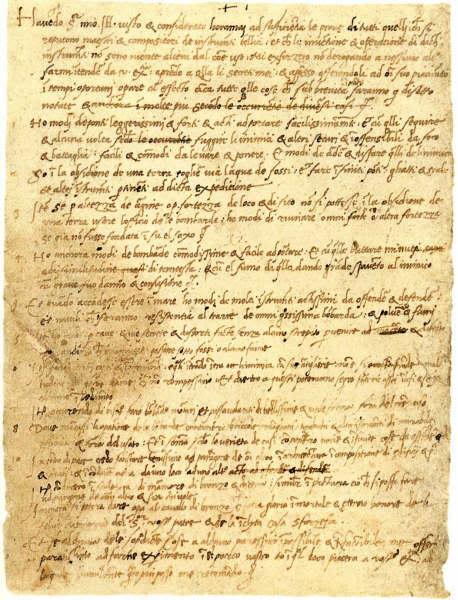 Lettre de Léonard à Ludovico Sforza, duc de Milan en 1482.